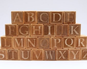 Laser Engraved Wooden Alphabet Block Set