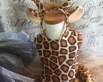 Giraffe costume dress and ears and tail included  Halloween school play