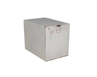 Vintage White Metal Pharmacy Prescription File Storage Box