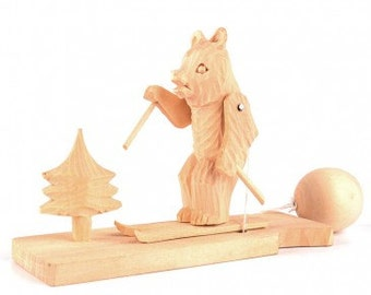Skiing Bear Movable Toy - Hand Carved Russian Wooden Toy