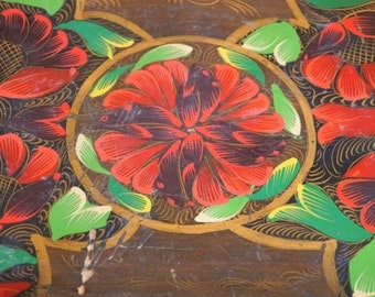 Vintage Floral Wooden Tray