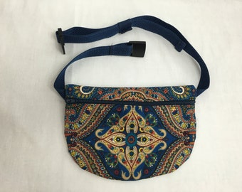 Navy Paisley Flat Zipper Fanny Pack, Waist Bag, Hip Pouch, Festival Bag-Choose Color
