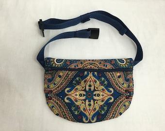 Navy Paisley Flat Zipper Fanny Pack, Waist Bag, Hip Pouch, Festival Bag-Choose Color