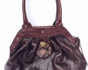 Leather 80s satchel gemstone purse