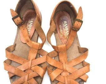 Vintage hurrache Leather Sandals
