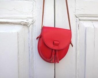 Spring Easter Vintage Red Leather Bag tassel leather handbag cute side pouch colorful
