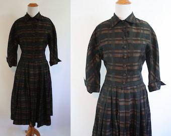 1950's Two Piece Set // Brown and Black Plaid // Medium