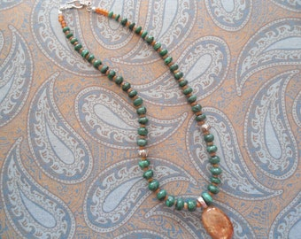 Stunning Sunstone and natural green malachite rondelle .925 solid sterling silver necklace
