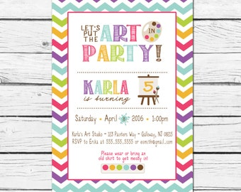 Art Paint Party Birthday Invitation- Printable