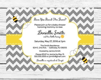Mommy to Bee Baby Shower Invitation, Bee Baby Shower Invitation- Printable/Digital File