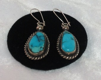 Vintage Turquoise and Silver Dangle Earrings