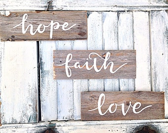 Faith, hope, and love inspirational wall art-painted on reclaimed wood pure white naturally weathered wooden signs (set of 3)