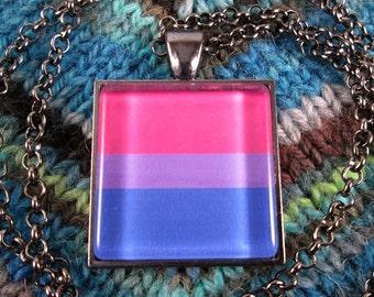 Bisexual Pride Flag Necklace - Gunmetal - Rolo Chain
