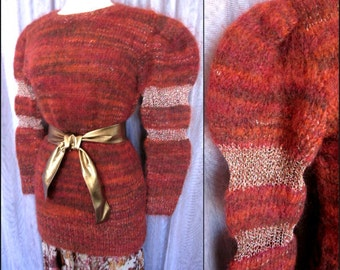 Handknit Mohair Sweater / fits S-M / Vintage Metallic Mohair Sweater / 80s Mohair Lurex Sweater / Mutton Sleeve Sweater