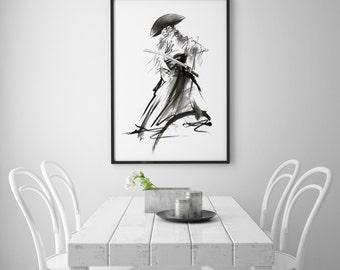 Samurai Art Print, Sumi-e Painting, Japanese Warrior, Ronin Poster, Bushido Giclee Print