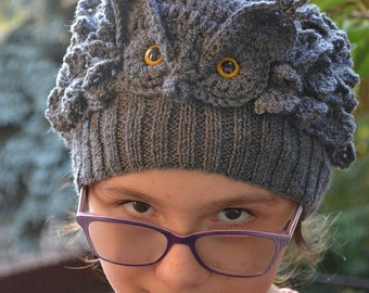 Knitted cap owl, great horned owl, Gray Owl, Accessories Hats & Caps, Winter Hats, Hand-knitted hat, Cool handmade hat, Schoolgirl's hat