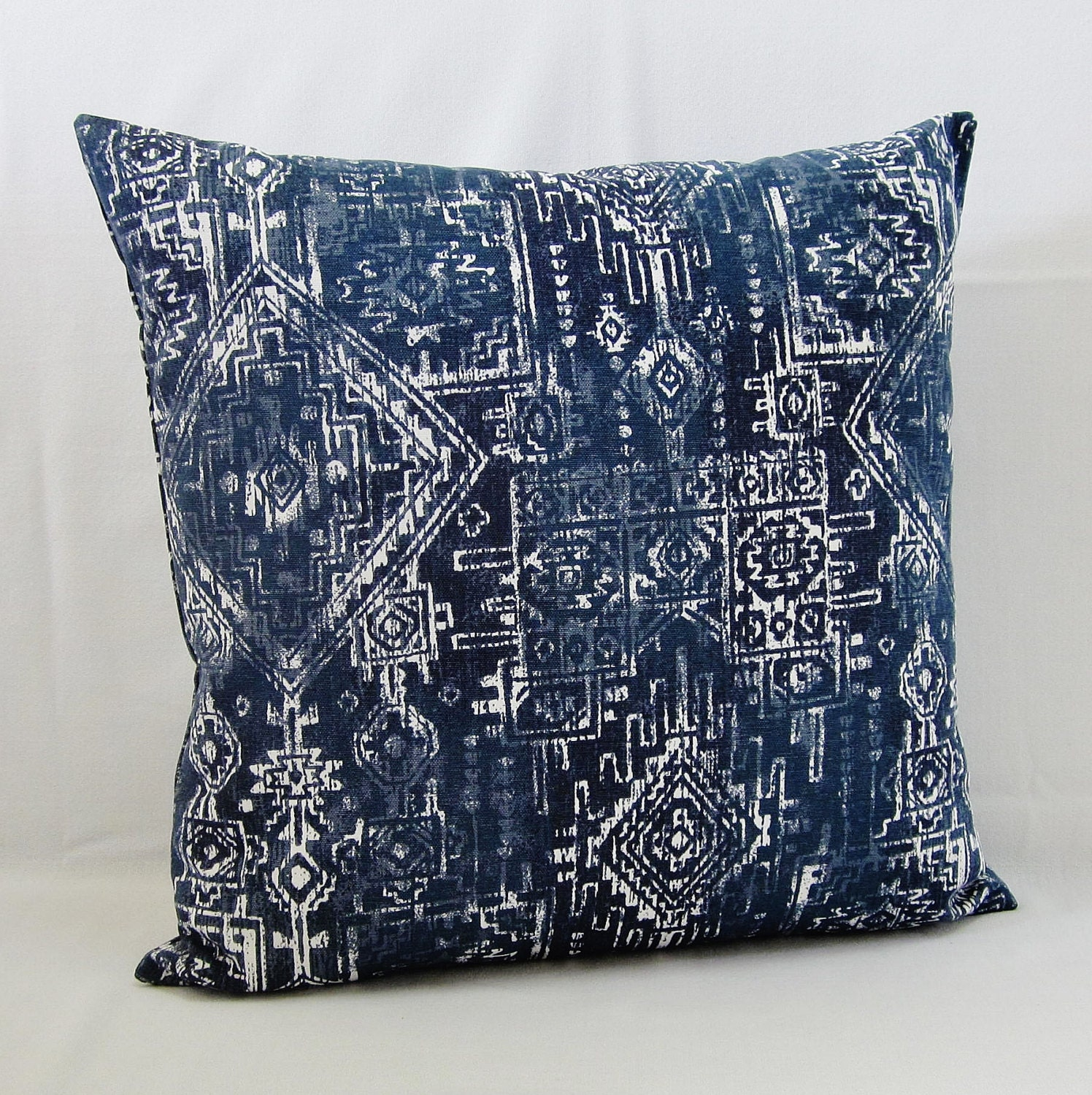 Blue Geometric Throw Pillows : Navy Blue Throw Pillow Cover Geometric Decorative Accent