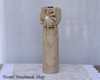 Wine Bag, Burlap Wine Gift Bag, Wine Bottle Bag , Wedding Wine Bag