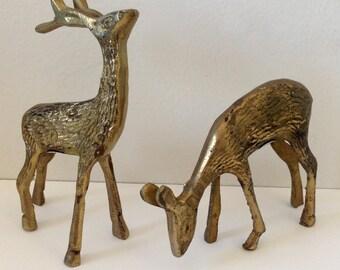 Vintage Brass Deer Set