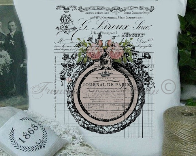Digital French Pillow Image, Shabby French Printable, Digital Pink Roses, Vintage Frame, Journal De Paris