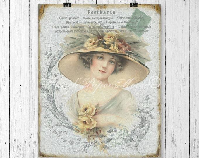 Victorian Digital Vintage Lady, Victorian Woman Printable Image, Shabby Victorian Digital Postcard Graphic Transfer Image