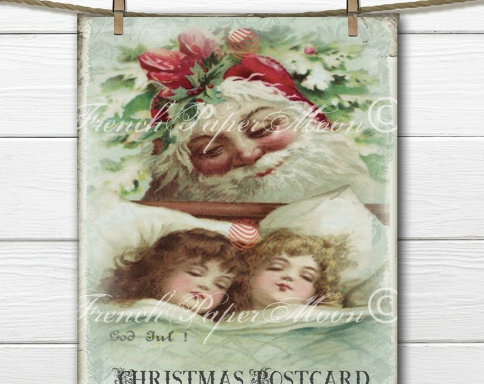 Adorable Vintage Santa Download, Digital Christmas Children, Instant Download Transfer Image