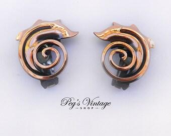 Copper Swirl Earrings, Clip On Earrings, Coiled Abstract Serpent Earrings