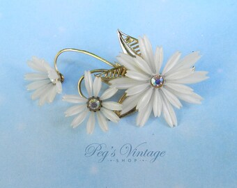 Vintage Early Soft Plastic Flower Brooch / Pin, White AB Rhinestone Floral Pin