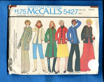 1970's McCalls 5427 Asian Inspired Jackets & Coats Size Large 18/20 UNCUT