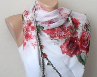 white red scarf flower green cotton turkish yemeni oya scarf handmade scarf