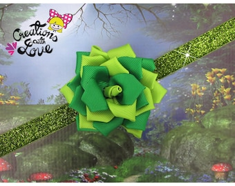 St. Patricks Day Rose Kanzashi Headband.  Kanzashi Flower. St. Patricks Day