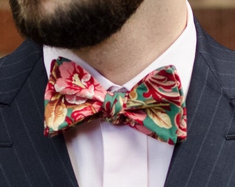 All cotton pink, red, and green floral self tie bow tie