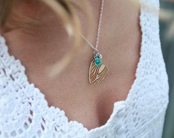 Woodgrain Heart Necklace. Ready to ship.