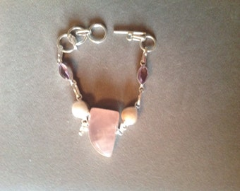 Sterling Silver Bracelet Rose Quartz Fresh Water Pearls