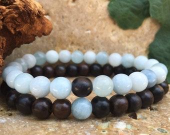 Couples Bracelets - Komagong Wood & Aquamarine - Gemstone His Hers Bracelets - Matching Bracelets
