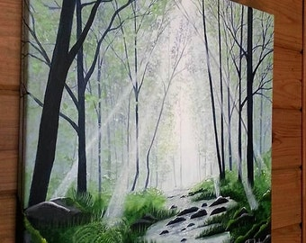 Cheap need to move Teal forest landscape painting by Pamela Henry sun rays blues greens reflections restorative wall decor