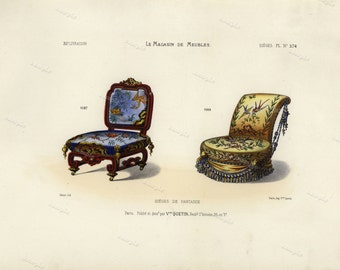 19th Century Original Antique Hand Colored Engraving  - Furniture engraving  decorative art art decor Chairs Meubles et Objets