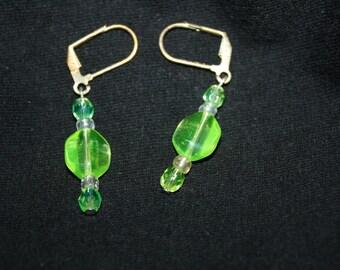 Vaseline Glass Dangle Earrings