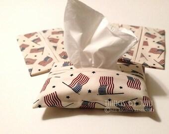 Flag Tissue Cover, Travel Tissue Cozy, Purse Pack Tissue Cover, Patriotic Tissue Holder, Teacher Gift, Coworker Gift
