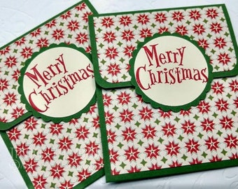 Poinsettia Gift Card Holders, 2 Christmas Gift Card Holders, Set of Money Holders, Merry Christmas Card Holder, Optional Envelope