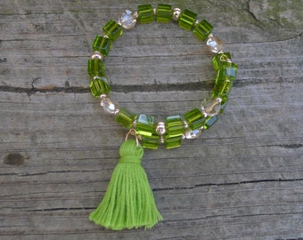 Green and Rose Gold Memory Wire Bracelet with Tassel