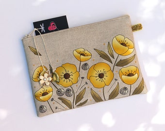 """Cherry & purple"" illustrated natural linen pouch"