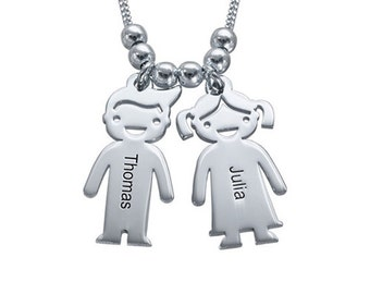 Personalized Necklace Sterling Silver 925 Mother's Necklace with Engraved Children Charms