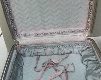 "American Tourister Tri-Taper Hardside Suitcase Blue 16"" Overnight Bag Vintage Retro Luggage"