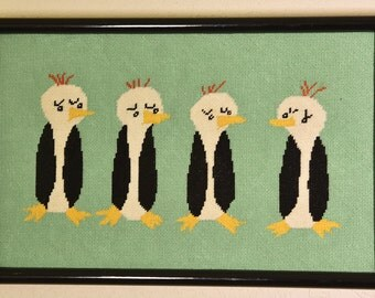 PENGUINS Vintage needlepoint framed art 16 x10