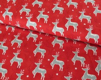 Moda JOL Rudolph Red cotton woven fabric - UK seller