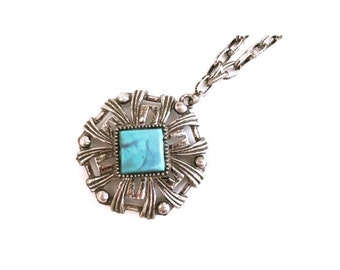 Vintage Silver and Turquoise Statement Necklace