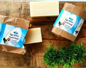 Egg White Facial Soap, Handmade All Natural Facial Bar, Gentle Facial Cleanser, Combination Skin Care, Organic Face Wash