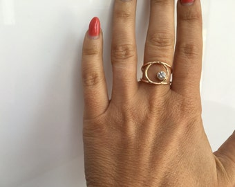 14kt Hammered Gold Diamond Circle Ring- Unique Circle Engagement Ring-Rustic Diamond Recycled Gold Ring  Engagement Ring