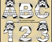 Stormtrooper (Star Wars) Alphabet Letters & Numbers Clip Art Graphics